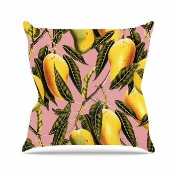 "83 Oranges ""Hello Sweetness"" Gold Yellow Illustration Outdoor Throw Pillow"