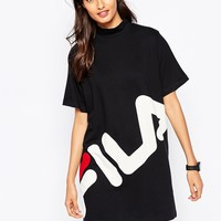 Fila High Neck T-Shirt Dress With Large Front Logo