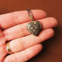 Forget Me Not Tiny Heart Locket Necklace by HeartworksByLori