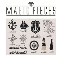 """MP Temporary Tattoo Fake Tattoo Non-toxic Tattoo Sticker with Black Lighthouse Sailing Telescope Pattern Size 5.9""""X4.3"""" DPT 0616"""