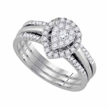 10kt White Gold Womens Round Diamond Teardrop Cluster 3-Piece Bridal Wedding Engagement Ring Band Set 1/2 Cttw