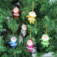 6 Pcs Of Multi-Color Christmas Santa Claus Hanging Tree Decor