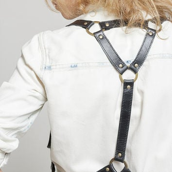 Black leather women body harness  belt