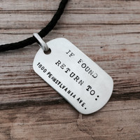 Personalized Mens Sterling Silver Dog Tag Charm Leather Rope Necklace, Custom Gift for Dad, Father, Groom, Engraved Secret Message Pendant
