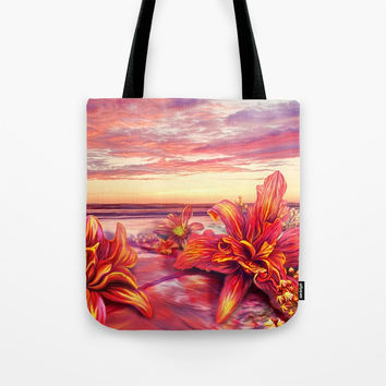 Radioactive flowers Tote Bag by exobiology