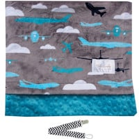 "Baby Laundry 92326 Soft Minky Planes Teal Baby Blanket 36""x30"" with Pacifier Clip"