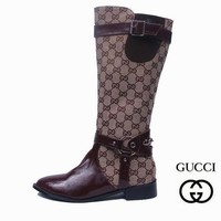 One-nice™ GUCCI Women Fashion Leather Tube in Boots Flats Shoes