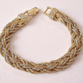 Monet Double Braided Bracelet Gold Tone Vintage Imprinted End Bars Foldover Clasp