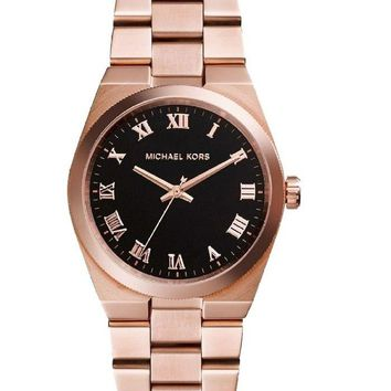 Michael Kors Watch Rose Gold Channing Black Dial Stainless Steel MK5937
