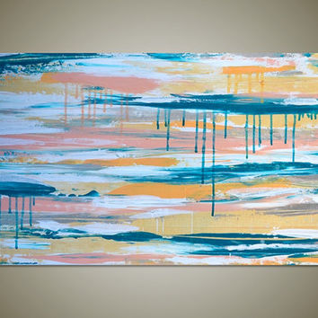 Dreamscape: Large Original Abstract Art Canvas Acrylic Contemporary Painting - Turquoise, Pink, Orange, White, Tan - Large Wide Long 36 x 18
