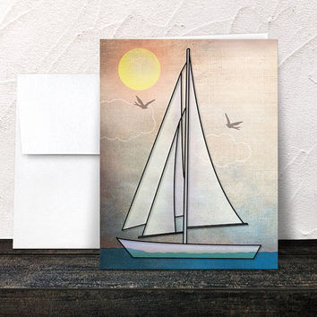 Nautical Note Cards - Rustic Sailboat Sailing Thank You Cards - Blank Inside - Printed Cards