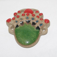 Tribal ceramic pendant green and red