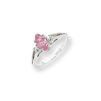 0.04 Ct  14k White Gold 8x4mm Marquise Pink Sapphire Diamond Ring I2 Clarity and I/J Color