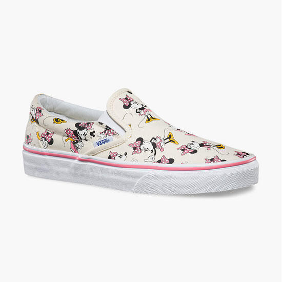 139ecad5ff6f Vans Disney Minnie Mouse Classic Womens Slip-On Shoes Pink Combo In Sizes