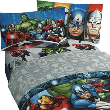 4pc Marvel Avengers Full Bed Sheet Set Superhero Halo Bedding Accessories