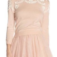 Jenny Yoo 'Millie' Beaded Cotton Blend Sweater | Nordstrom