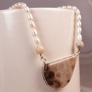 Petoskey Stone Jewelry - Stone Jewelry - Petoskey Necklace - Petoskey Pearl Necklace - Fossil Jewelry - Michigan Stone - Fossil