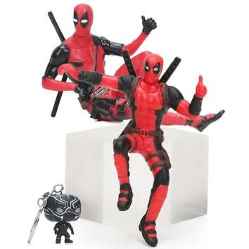 4-7cm Marvel Toys Black Panther Ironman Keychain Superhero Deadpool Sitting Yamaguchi Style Figure Superheroes Model Dolls Toy