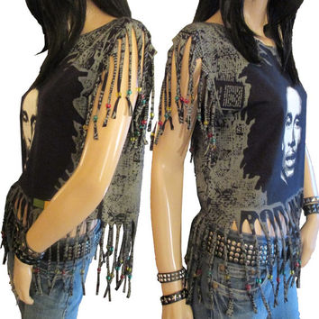 SALE Shredded  Bob Marley Reggae T Shirt Cut Fringed With Rasta Style Beads