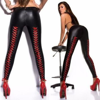 DCCKH6B Europe America Punk Patchwork Women Sexy Lace Up Black Faux Leather Gothic Large Size Low Waist Slim Leggings