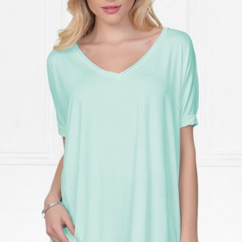 Piko 1988 Bamboo Pastel Mint Green Short Dolman Sleeve V Neck Piko Bamboo Basic Loose Tunic Tee Top