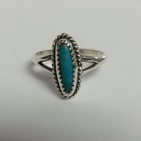 Size 6.25 Estate Turquoise Vintage Sterling 925 Silver Ring Southwestern Navajo