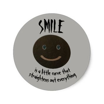 Bokara Grey Smiley Face Classic Round Sticker