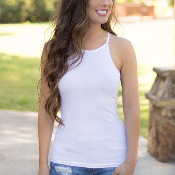 Simplicity High Neck Tank - White