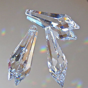 Swarovski Crystal Three  Slim Icicle Prism Ornaments Suncatchers, 40mm, logo