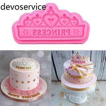Princess Crown Silicone Cake Molds Wedding Cake Border Fondant Cake Decorating Tools Cupcake Chocolate Gumpaste Moulds