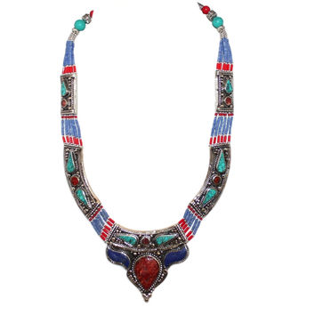 Lapis Coral Turquoise Handmade Necklace