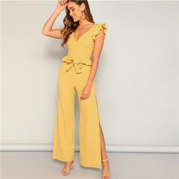 Yellow Knitted Ruffle Trim and High Split Side Wide Leg 2 Piece Pant Set
