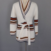 Vintage 1970s Sears Cardigan Wrap Sweater Fall White Striped 70s Southwestern Knit Womens Sweater Fisherman Ski Sweater SoCal Hipster Indie
