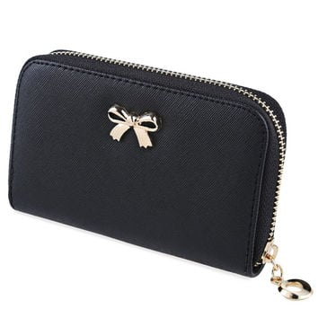 New Fashion Wallet Lady Solid Color Interior Zipper Pocket Clutch Wallets Bowknot Embellishment Leather Wallet For Women