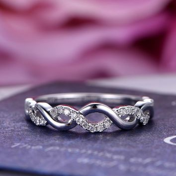 Pave Diamond Wedding Band Half Eternity Anniversary Ring 14K White Gold Twist Unique