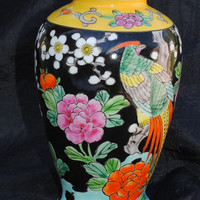 Vintage Small Signed Colorful Decorative Vase Made in Japan