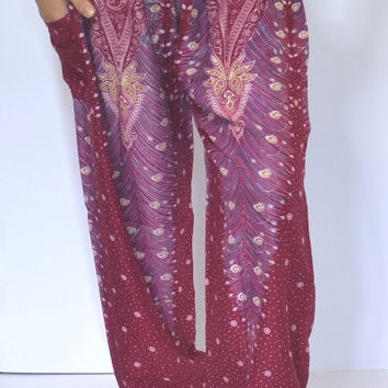 Harem Pant Dark Red Blue White Gold Peacock Mixes Colors Pant/ Yoga Pants/ Boho/elastic waist/Comfortable wear fit most/Elastic ankle pant.