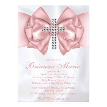 Satin Diamond Cross First Communion Invitation