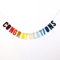Congratulations Ombré party banner, primary color banner, fade from red to yellow to blue