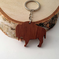 Wooden Buffalo Keychain, Walnut Wood, Animal Keychain, Environmental Friendly Green materials
