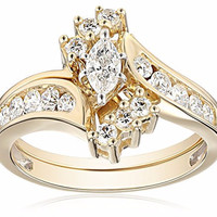 Marquise Cut Diamond Bridal Set 1/2 Ctw 14K Yellow Gold Size 7