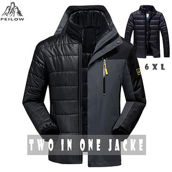 PEILOW Winter jacket men fashion 2 in 1 outwear thicken warm parka coat women`s Patchwork waterproof hood men jacket size M~6XL