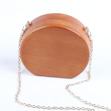 Circular Ellipse Wooden Handbags Casual Women Ladies Evening Bags