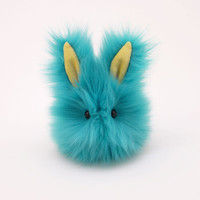 Breeze Bunny Rabbit Aqua Blue and Yellow Stuffed Animal  Plush Toy - 4x5 Inches Small Size