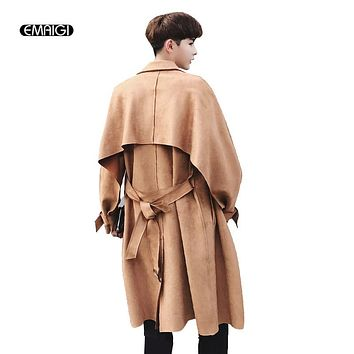 Men Loose Suede Trench Jacket Fashion Casual Long Cardigan Coat Male Windbreaker Outerwear Jacket