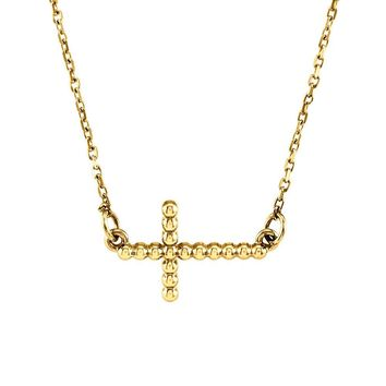 19.5mm Sideways Beaded Cross Necklace in 14k Yellow Gold, 16.5 Inch