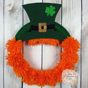 St Patricks Day Leprechaun Orange Yarn Pom Pom Wreath with Green Felt Hat
