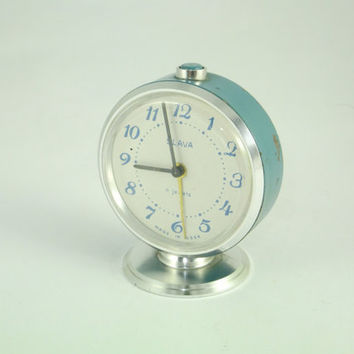 Blue Vintage Russian Mechanical Alarm Clock Slava from Soviet Union Period 11 Jewels Blue, CCCP