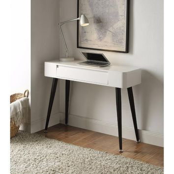 Black & White Console/Desk w/Drawer with Tall Legs -4DC Concepts