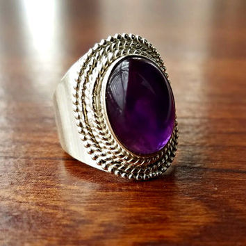 Purple Amethyst Ring - Boho Ring-February Birthstone Ring- Bohemian Jewelry - Unique Statement Ring